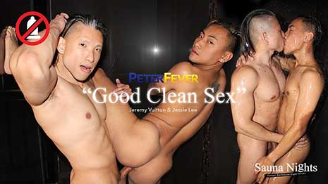 Next up to explain and then play out their hottest bathhouse experience is sexy Asian bottom Jeremy Vuitton. He looks back hornily at the time when an Asian musclestud stepped up next to him...